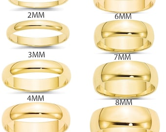 Comfort Fit Plain Anniversary Band 2mm 5mm 7mm 9mm 14K White Yellow Rose Gold