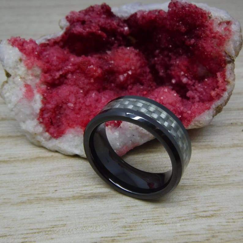 8mm Black Ceramic Beveled Edge with Silver Color Carbon Fiber Inlay Wedding Band Ring for Men Or Women Custom Engraving