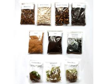 Terrarium kit, DIY Mix and Match. Soil Mix / Activated Charcoal / Moss / Gravel - Custom Terrarium Kit!