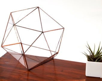 Large Glass Terrarium - Simple Icosahedron / Geometric Terrarium / Display Box / Candle Holder by Geodesium