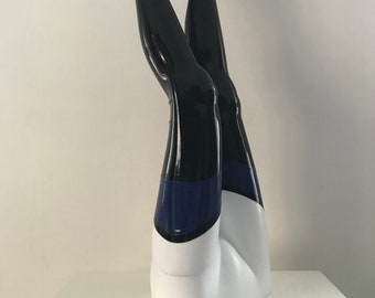 SAMPLE- Futuriste Latex Stockings - XXS - Black - Royal Blue