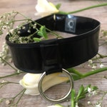 Kimie Latex Choker Black with Gold or Silver Ring - Chronomatic Luxury Latex Wear