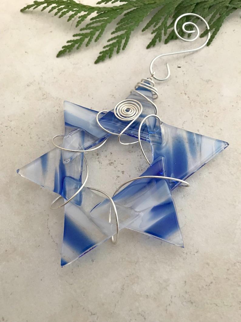 Fused Glass Suncatcher Glass Star of David Jewish Holiday Star Of David Hanukkah Decoration Chanukah Wire Wrapped Star