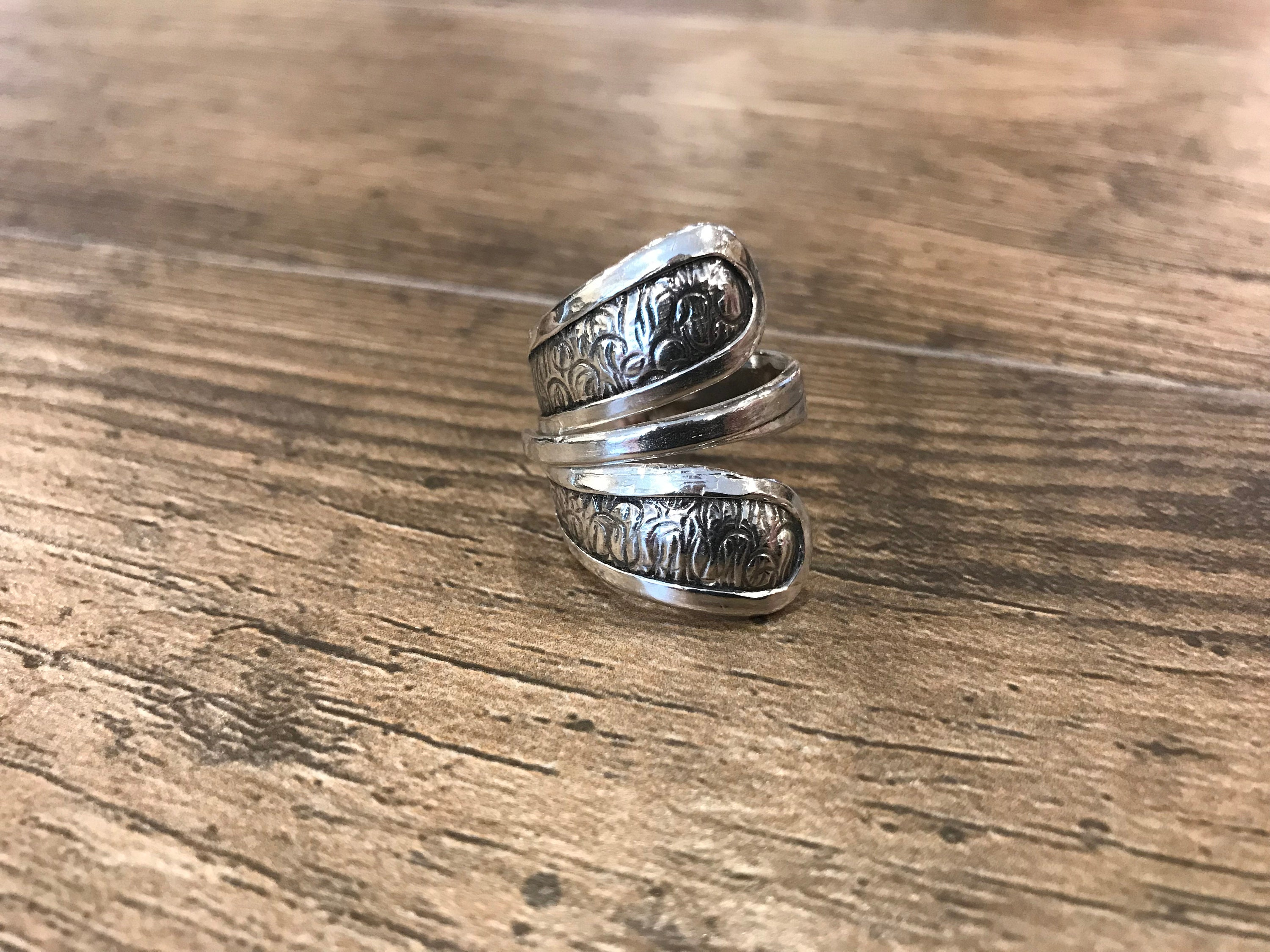 Sterling Silver Textured /& Oxidized Wrap Ring