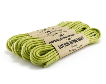 """Light green shoe laces, Dress shoelaces, Boot Laces, Round waxed cotton shoe laces, Groomsmen gift, Fall Wedding - 29.5""""/31.5""""/53"""" Length"""