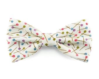 Cream polka dots bow tie for men, wedding, groomsmen bowtie, groom, gift for him, boys bow ties - Fall Winter wedding accessories