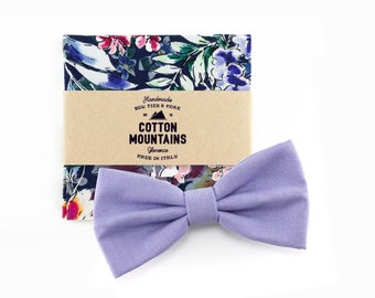 Lilac bow Tie and floral blue handkerchief for men, wedding accessory, groomsmen gift, Pre-tied bowtie - Fall Winter wedding