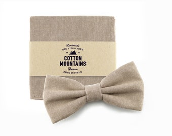 Taupe beige Bow Tie and handkerchief for men, wedding accessory, groomsmen gift, Pre-tied bowtie - Fall Winter wedding