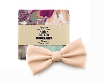 Bow Tie and handkerchief blush taupe tiffany for men, wedding accessory, groomsmen gift, Pre-tied bowtie - Fall Winter wedding