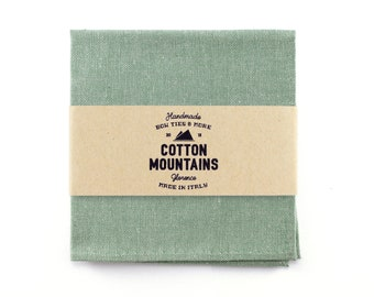 Sage green pocket square for men, sage wedding handkerchief, groomsmen pocket square, Gift for Him - Spring summer Wedding accessories