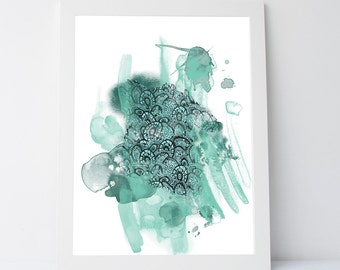 Teal abstract art, teal painting, printable art, abstract print, teal wall art, gallery wall prints, teal artwork, bedroom wall art, teal