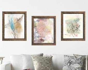 Abstract Print Set, Bohemian Wall Art, Printable Art Set, Boho Decor, Set  Of 3 Prints, Abstract Wall Print, Abstract Art, Set Of 3 Wall Art