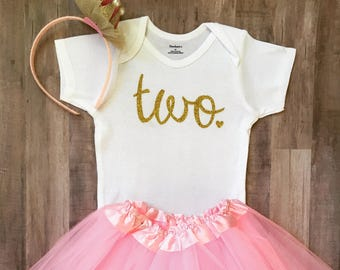 Second Birthday Outfit, 2nd Birthday Onesie®, 2nd Birthday Outfit Girl,  2nd Birthday Outfit, Two Birthday, Two, Pink and Gold Birthday,