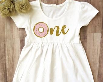 Donut 1st Birthday Onesie®, Donut 1st Birthday Outfit, 1st Birthday Donut Dress, Baby Girl 1st Birthday, Donut Dress