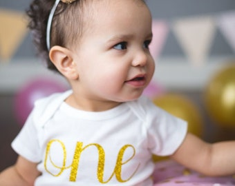 One Onesie® - First Birthday Onesie® - Girl First Birthday Outfit - Gold Glitter One Onesie® - First Birthday Outfit with Tutu -