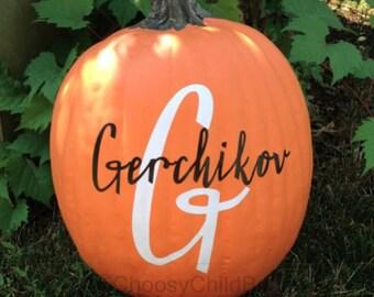 Monogrammed Pumpkin - DIY Pumpkin Decal - Personalized Pumpkin - Halloween Pumpkin - Thanksgiving Pumpkin Decal - Last Name Pumpkin