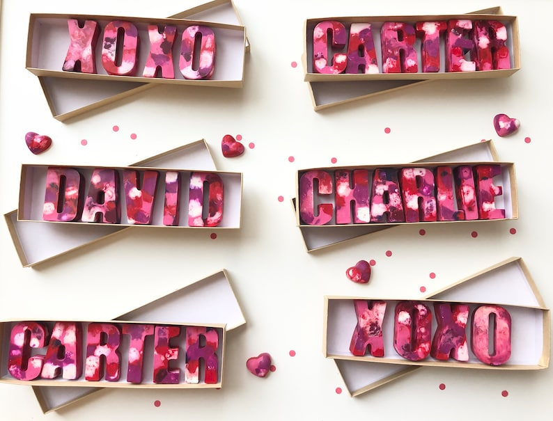 Alphabet Name Crayons Personalized Name Crayons Valentine/'s Day Valentine/'s Day Heart Crayons Kids Birthday Crayons Kids Name Crayons