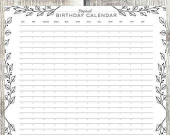 Perpetual Birthday Calendar - A2 birthday calendar - wall planner - birthday planner
