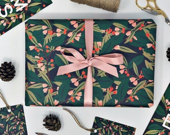 Christmas GREEN Recyclable Wrapping Paper Set - DEEP GREEN Eco Friendly Gift Wrap & Tags