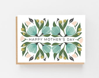 Happy Mother's Day Card - Stylish Mum Card - Illustrated Mother's Day Card - Green & Pink Mother's Day Card