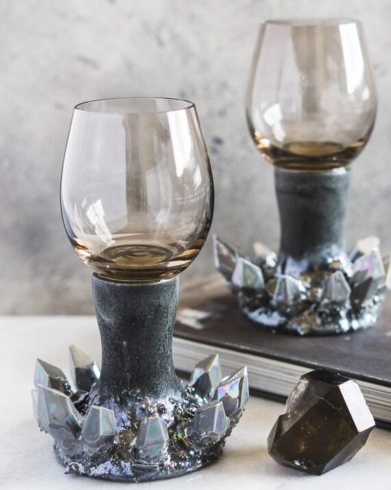 Smokey Quartz Crystal Wine Glass