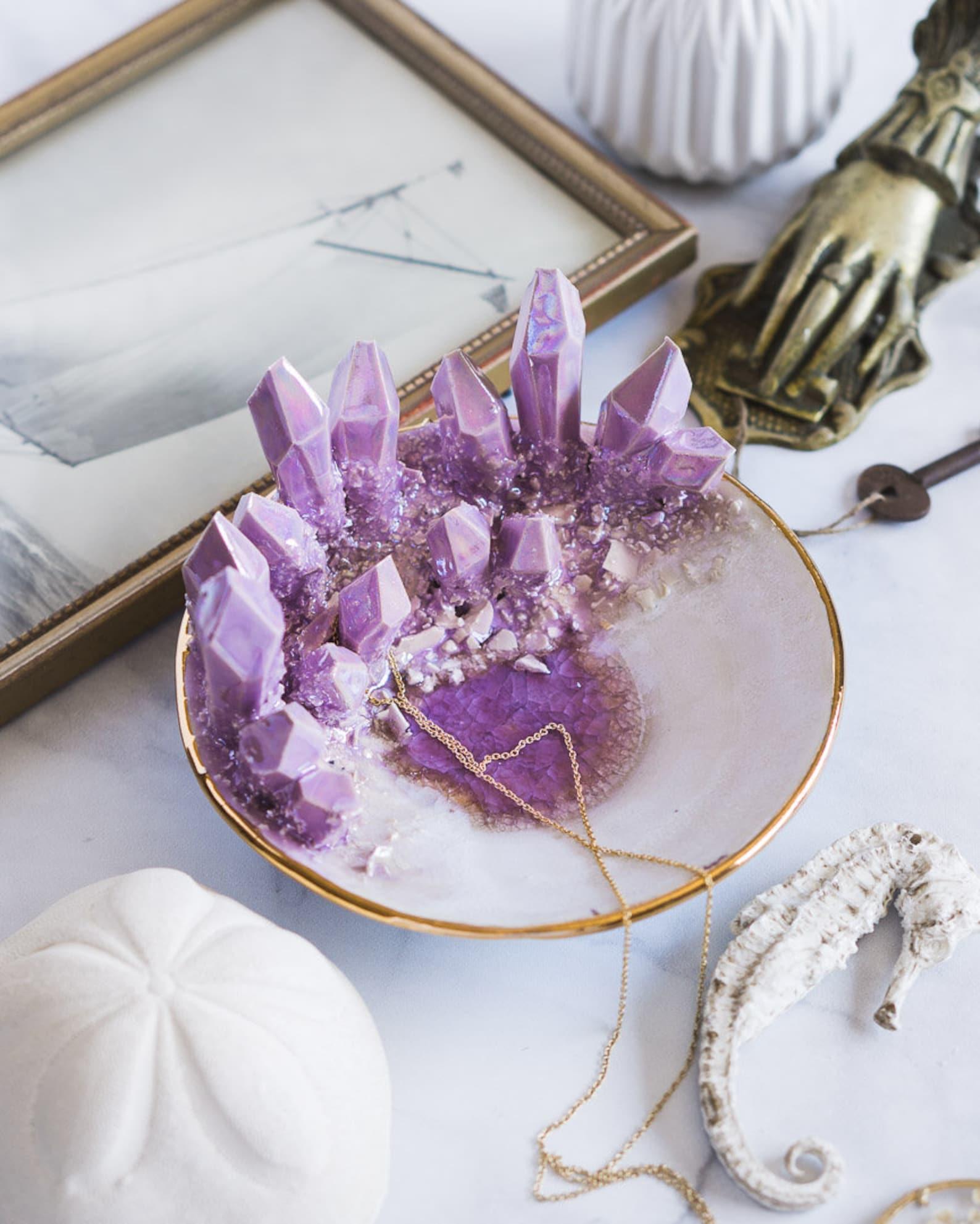 Purple Crystal Dish Decor