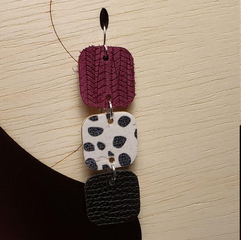 Genuine Leather Earrings Circle Dangle Earrings Square Dangle Earrings Layered Earrings Various Colors