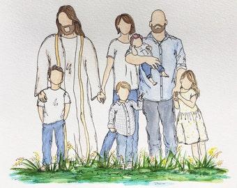 Watercolor Family Portrait with Jesus, Custom Watercolor with Jesus, Jesus Painting