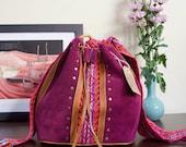 Ethnic bag, Bohemian bucket bag, Purple bag, Purple boho bag, Purple ethnic bag, Purple shoulder bag