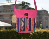 Boho crossbody bag, Pink ethnic cossbody bag, Pink ethnic bag, Small Ethnic bag, woven ethic bag, colourful bag