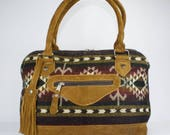 Brown winter bag, Brown ethnic bag, Brown boho shoulder bag,  Brown leather bag, Doctor bag, Boho doctor bag, Boho shoulder bag