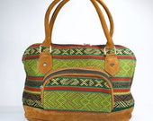Green boho bag, Green ethnic shoulder bag, Green doctor bag, Boho doctor bag, Green shoulder bag