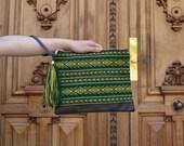 Green boho clutch, Ethnic handbag, Green boho bag, Green and brown ethnic bag, Hippie purse, Small boho bag
