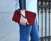 Red boho clutch, Red clutch, Boho handbag, Red ethnic bag, Small red bag, Embroidered red hand bag, Red tapestry hand bag