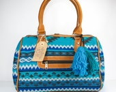 Aqua blue doctor bag, Aqua blue boho bag, Boho doctor bag,  Ethnic doctor bag, Blue boho bag, Blue ethnic bag