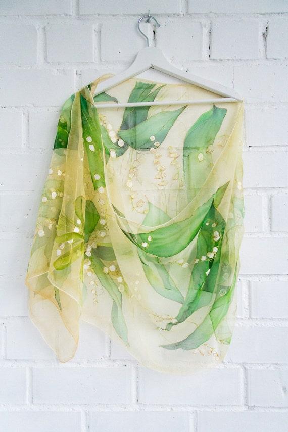 f869322b5799 Lily of the valley Foulard soie mousseline de soie peint à   Etsy