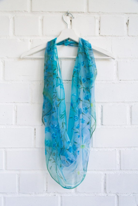 Foulard en soie floral bleu fleur de foulard-Lin Lin et   Etsy 69ec2107d10