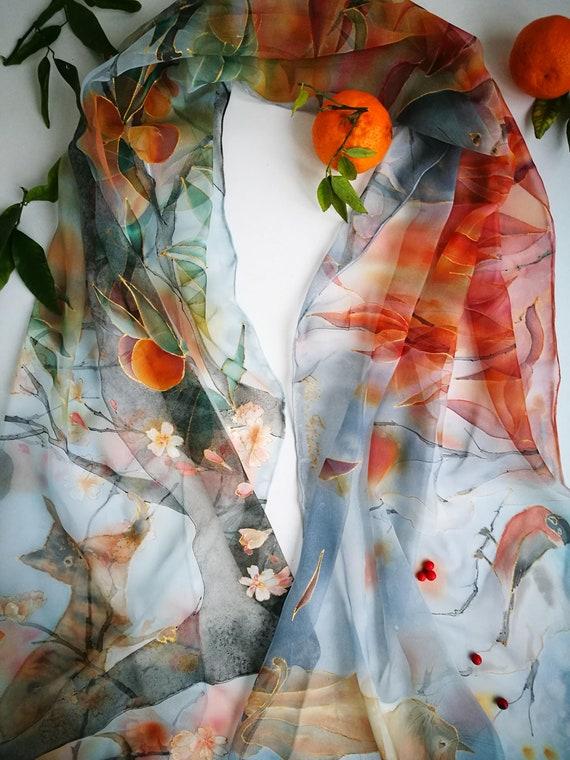 Peintes en mousseline de soie foulard quatre saisons quatre   Etsy 06742332ea6