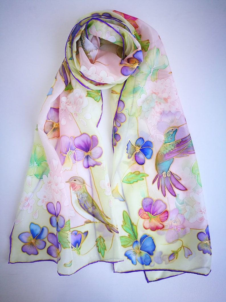 3181eae59f3 Hand painted Silk scarf Pansies Geraniums Humming birds Pale Green Pink  scarf Floral shawl Birds scarf Custom painted scarf Mother day gift