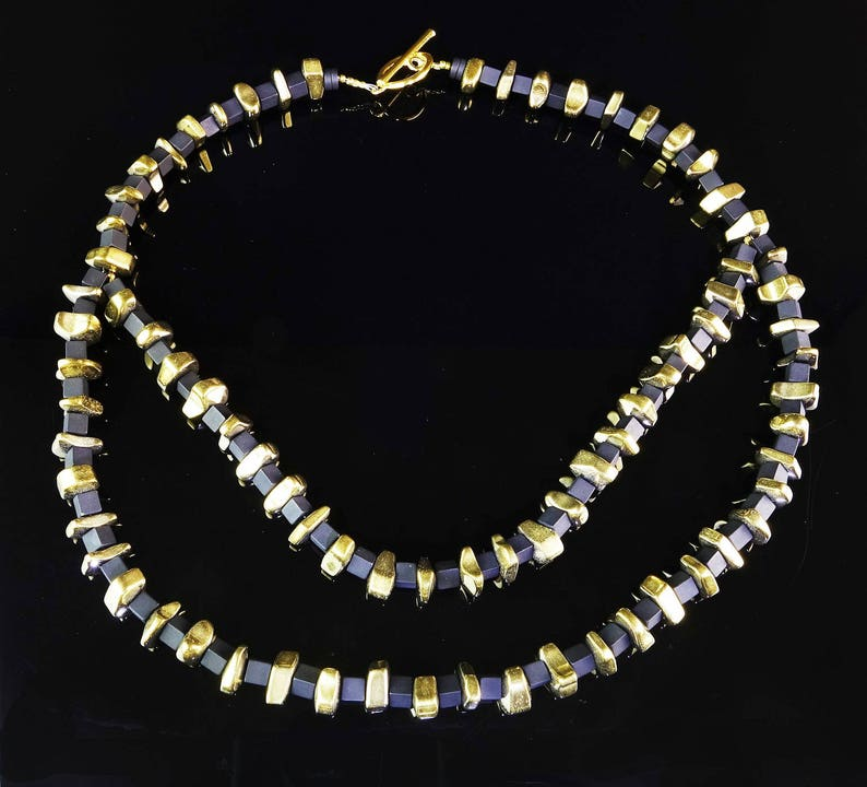Onyx Necklace Modernist Black Onyx and Gold Pyrite Necklace black and gold necklace MN16127