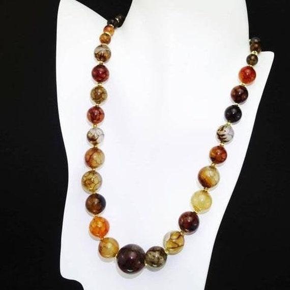 Gemjunky Spiderweb Jasper Necklace, Brown Beaded necklace    MN16119