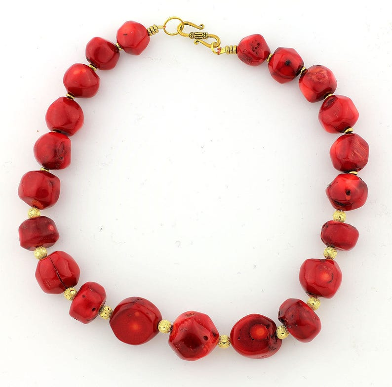 Red bamboo coral necklace  KC4671