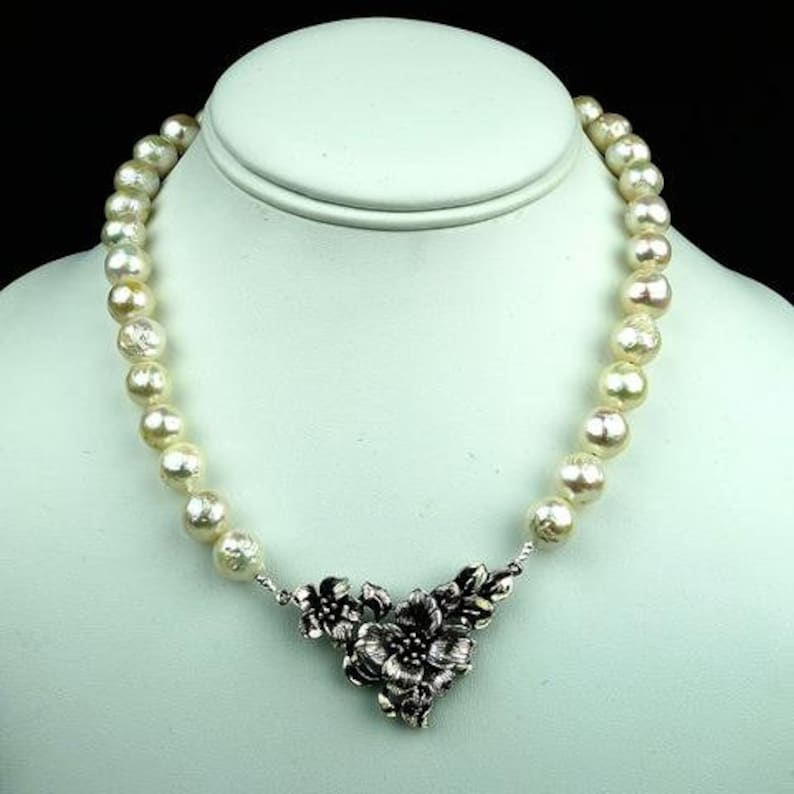 Pearl jewelry baroque pearls Pearl Necklace with Floral Sterling Focal  MN1887