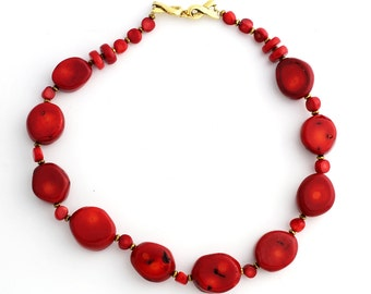Red Coral and more Coral necklace KC4184