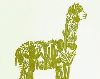 Screen print Alpaca with Cacti