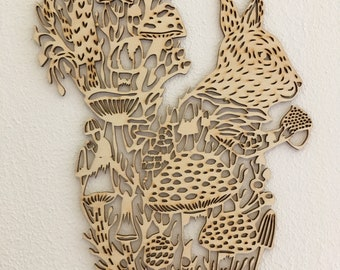 Laser cut from wood Squirrel with Mushrooms