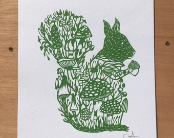Screen print Squirrel with Mushrooms