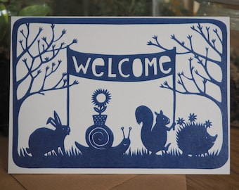 5 x Cute welcome greetingcard for a newborn baby - from original paper cut