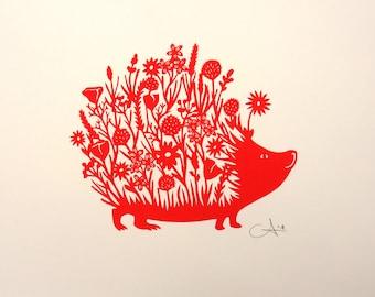 Screen print Hedgehog with Flowers