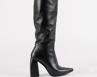 Over The Knee Boots/ Winter Boots/ Black Leather Boots Women/ Knee High Boots/ High Heel Boots/ Thigh High Boots/ Rainboots